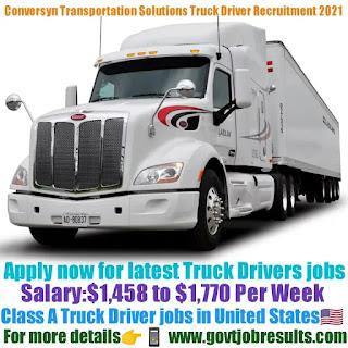 Conversyn Transportation Solutions Class A Truck Driver Recruitment 2021-22