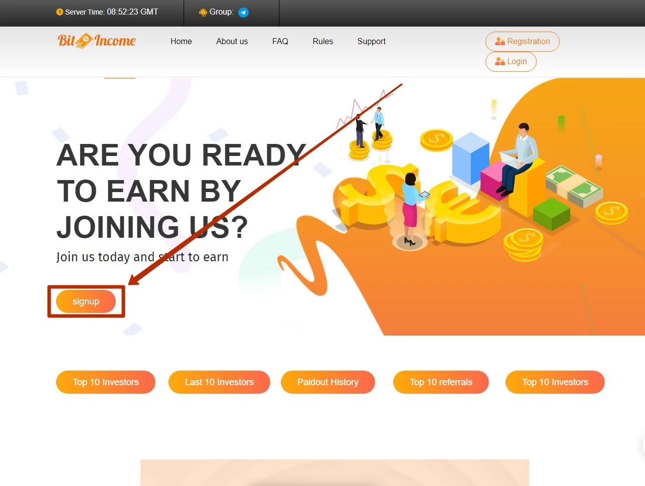 Регистрация в BitIncome