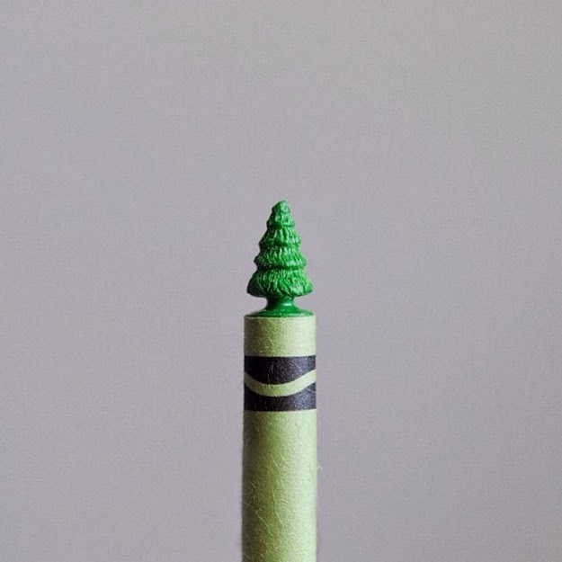 Crayon Tree Carved with Sewing Needle