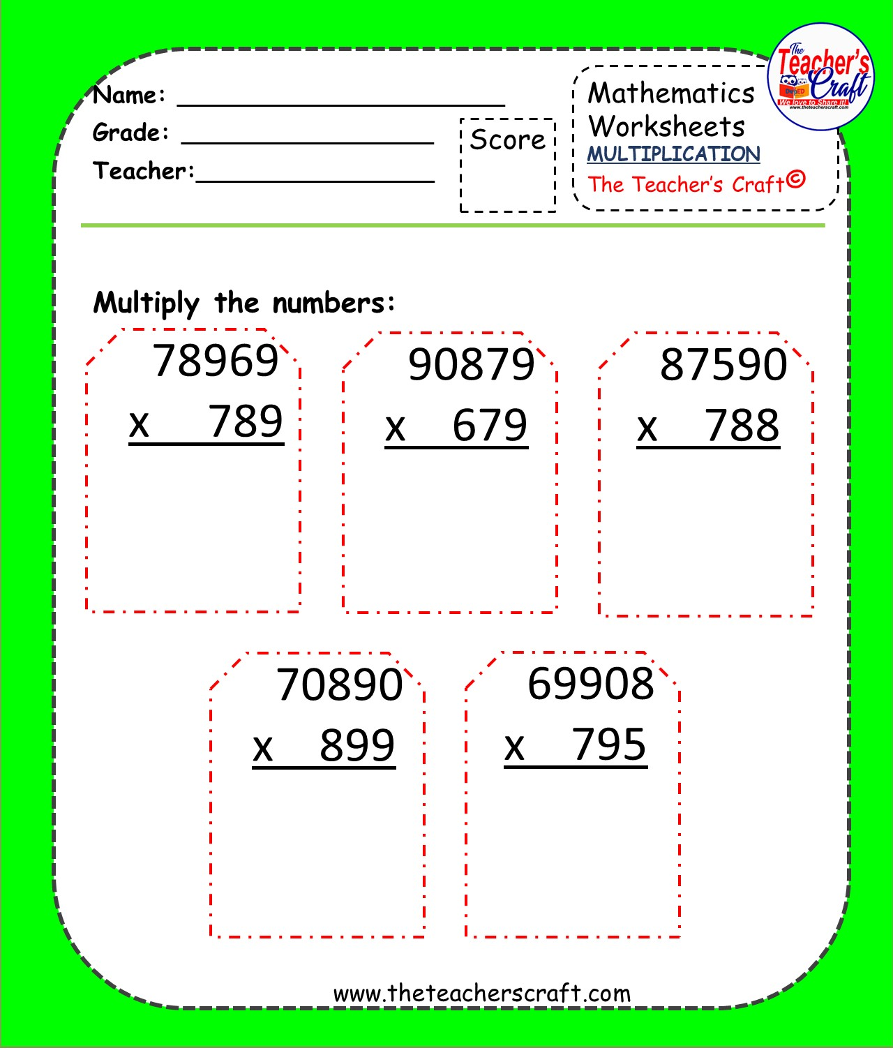 Multiplication Worksheets 5 By 2 Amp 3 Digits