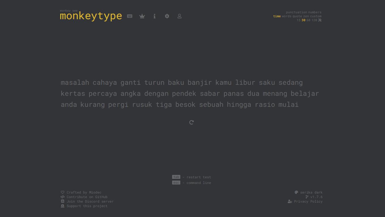 Situs Untuk Mengecek Seberapa Cepat Kamu Mengetik - Monkeytype