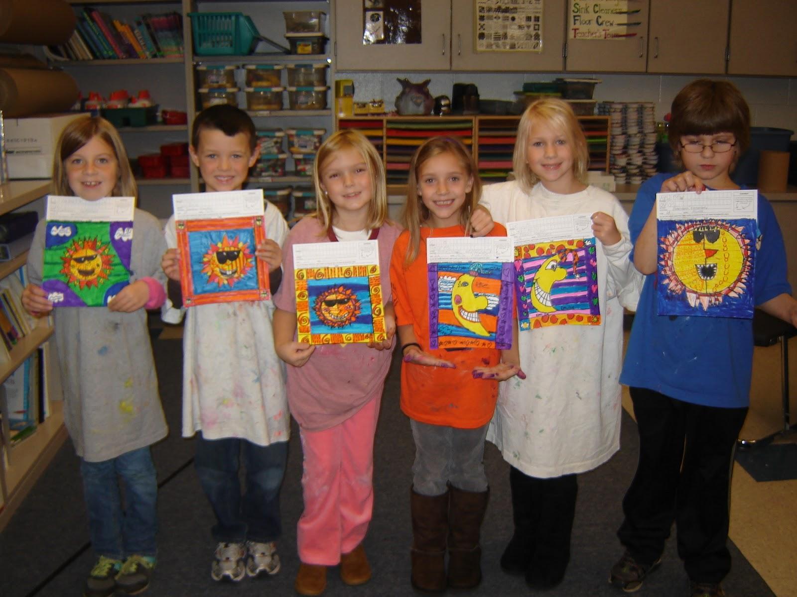 Jamestown Elementary Art Blog 2nd Grade Suns And Moons