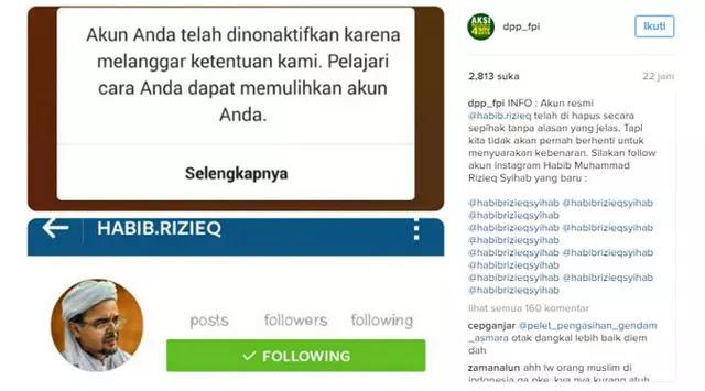 Innalillahi, Instagram Nonaktifkan Akun Habib Rizieq