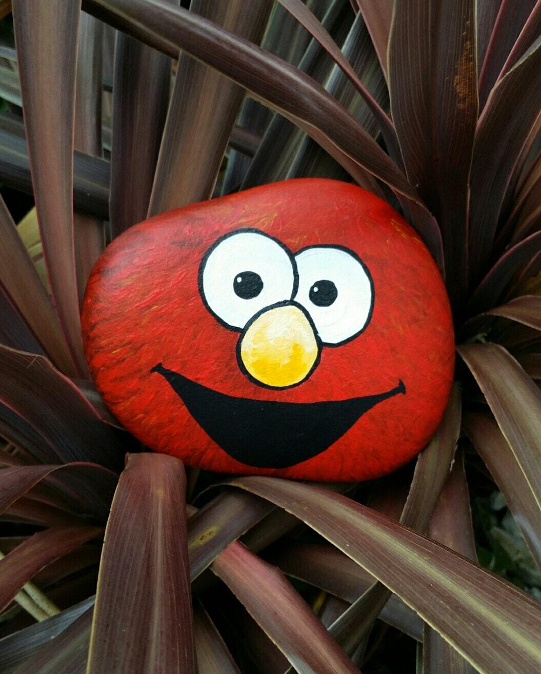Elmo painted rock