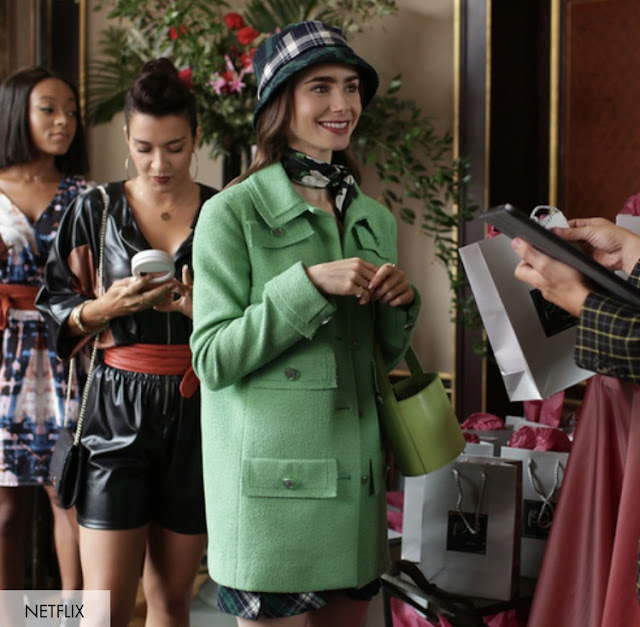 Emily in Paris Green Jacket and Bucket Hat