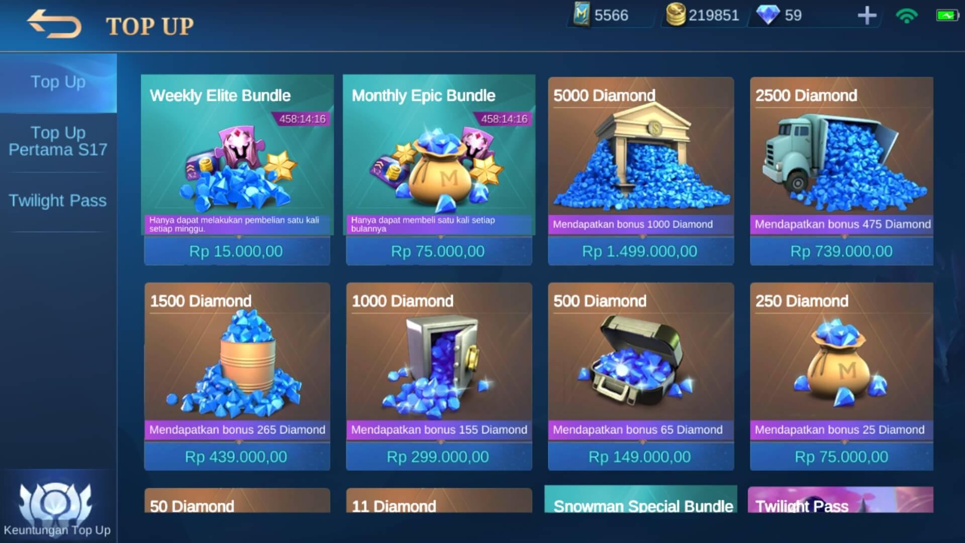 Memilih Item Pembelian Mobile Legends Bang Bang
