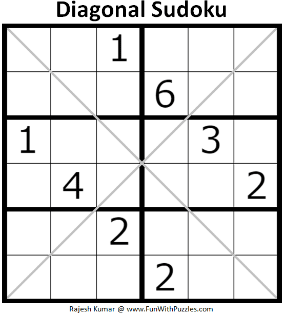 graphic regarding Jigsaw Sudoku Printable known as 6x6 Diagonal Sudoku Puzzles (Mini Sudoku Sequence #115, #116