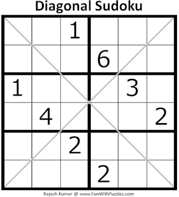 6x6 Diagonal Sudoku Puzzle (Mini Sudoku Series #116)