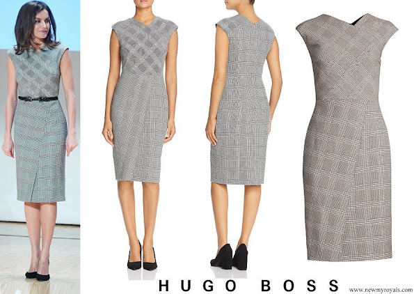Queen Letizia wore BOSS Dechesta Glen Check Stretch Cut Cap Sleeve Sheath Dress