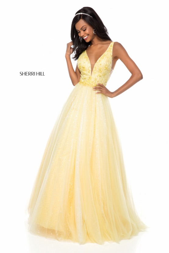 Beaded Applique Yellow Sherri Hill 51708 A Line Long Tulle Prom Dresses 2018 ac0968d60