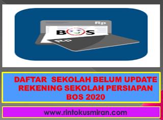 DAFTAR  SEKOLAH BELUM UPDATE REKENING SEKOLAH PERSIAPAN BOS 2020