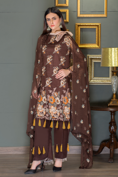 Brown color crinkle 2 pc sale collection Taana Baana