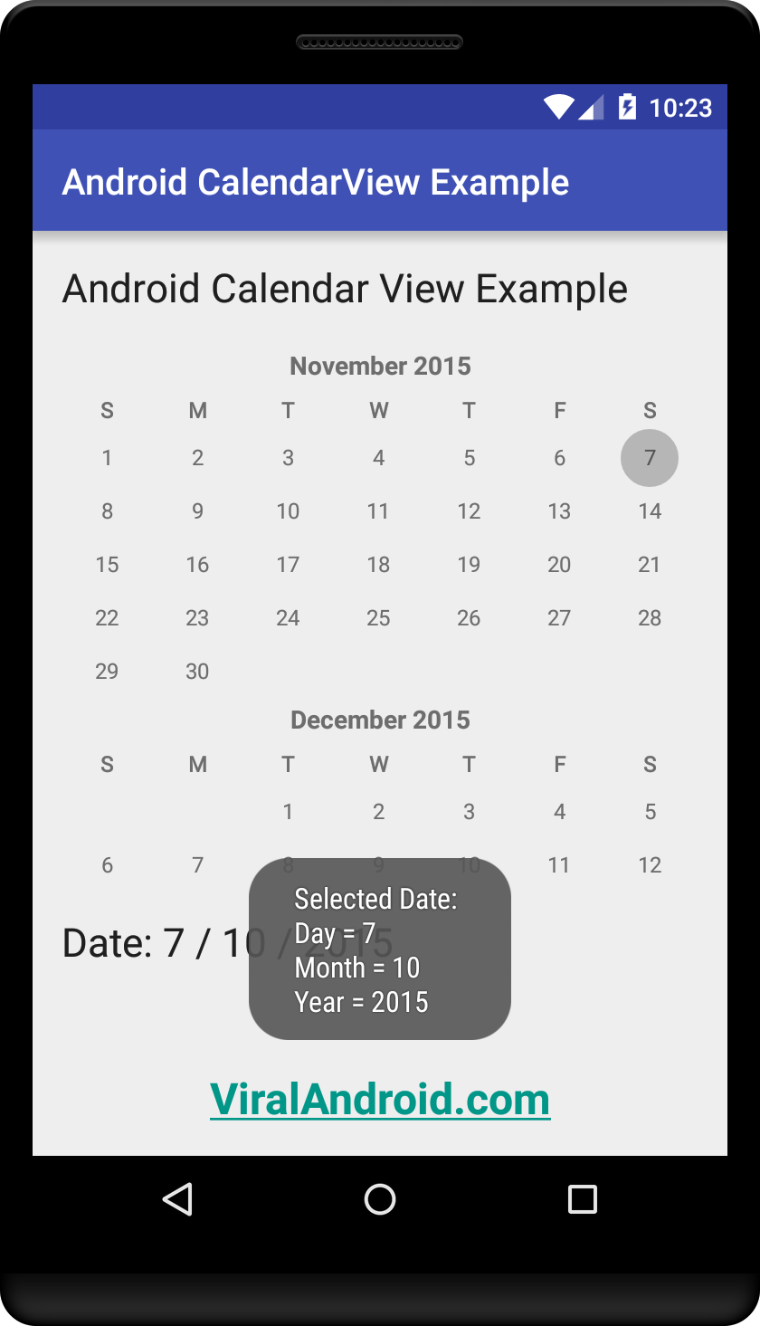 CalendarView Example: How to use Android Calendar View Widget