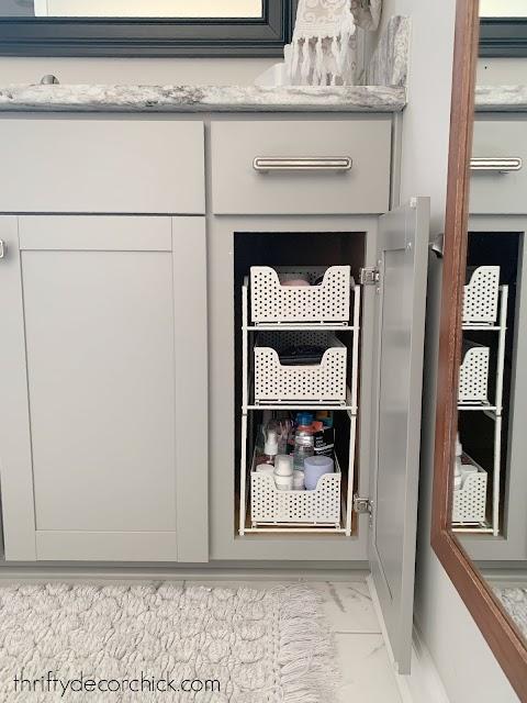 skinny sliding storage baskets for under cabinets