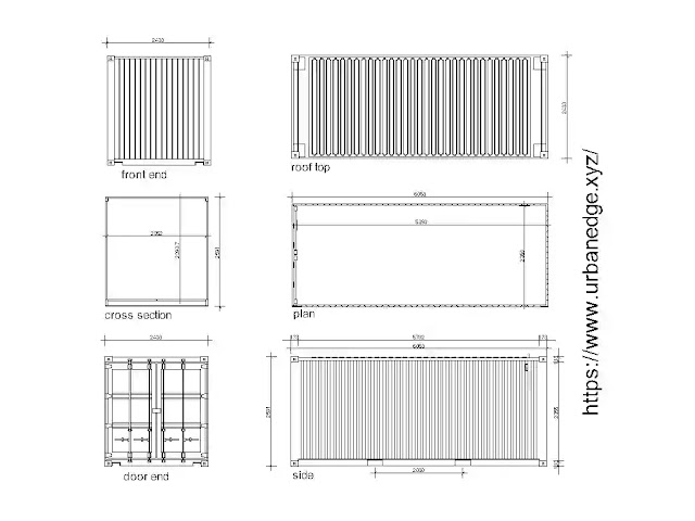Shipping container cad blocks download, Container plan elevation, and section dwg