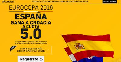 betfair España gana Croacia supercuota 5 Eurocopa 2016 21 junio