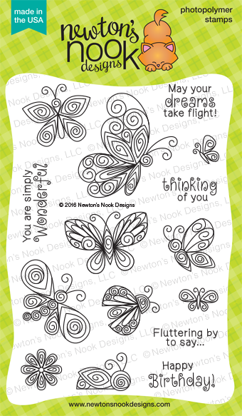Beautiful Wings | 4 x 6 Butterfly Stamp set | Newton's Nook Designs #newtonsnook