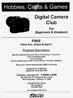 Poster: Digital Camera Club for Beginners and Amateurs at Annette Public Library