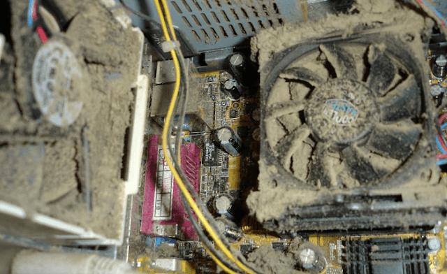 Aşırı tozlanan bilgisayar kasası