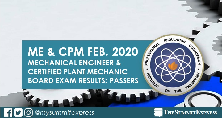 RESULTS: February 2020 Mechanical Engineer ME, CPM board exam list of passers