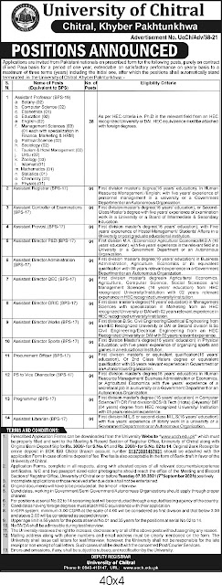 Job opportunities in University of Chitral | jobs in chitral | jobs in uoch | jobs in chitral university |