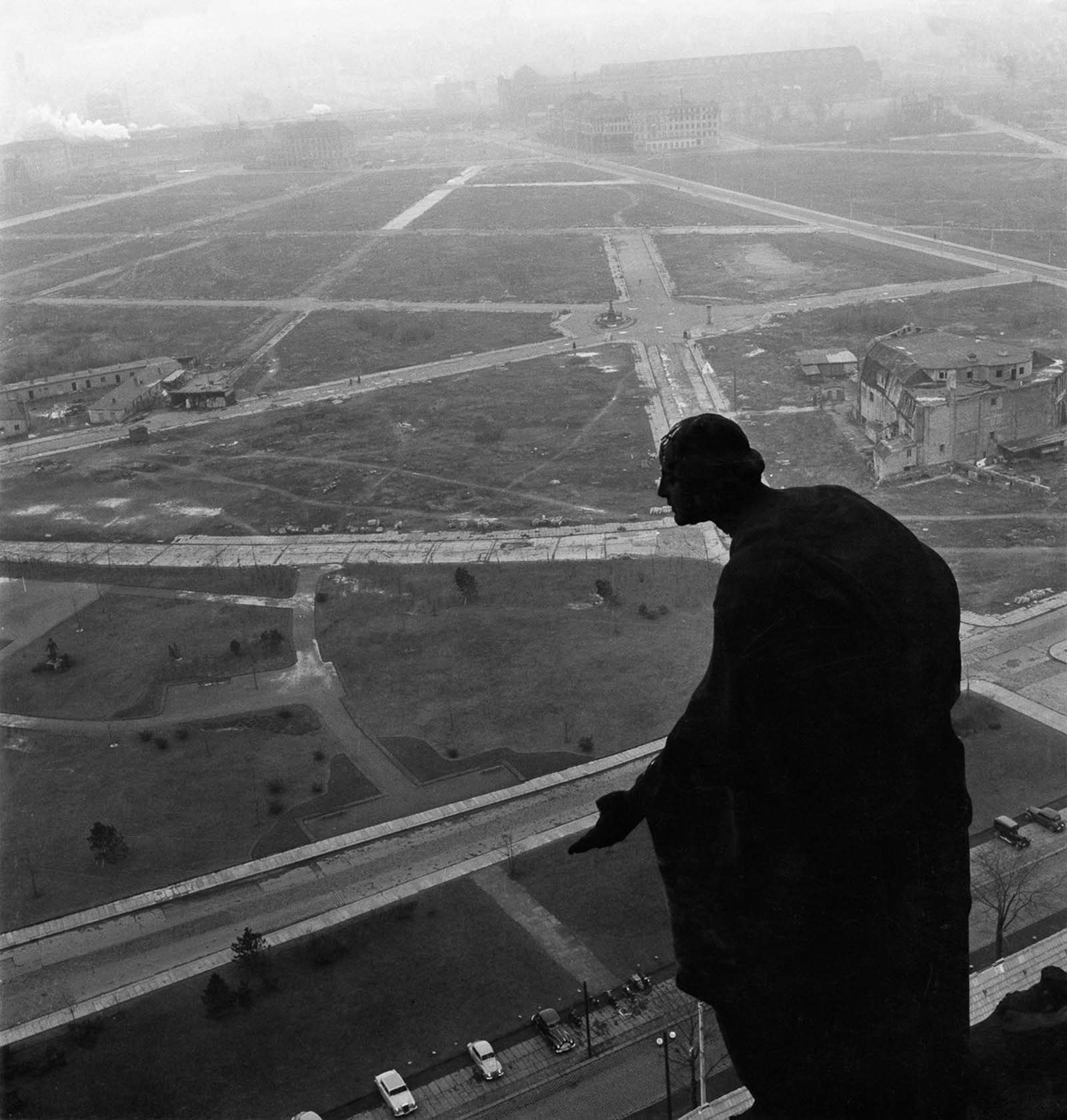 A view from city hall over the cleared former city center. 1955.