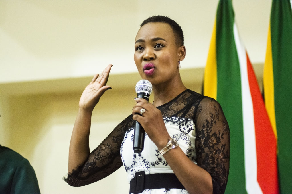 Stella Ndabeni-Abrahams, South Africa's communications minister, gestures as she speaks during a swearing-in ceremony in Pretoria, South Africa, on Thursday, May 30, 2019. Now that South Africa's cabinet has been announced, the rand may join its emerging-market peers in being whipsawed by a trade war that has subdued markets worldwide. Photographer: Waldo Swiegers/Bloomberg via Getty Images