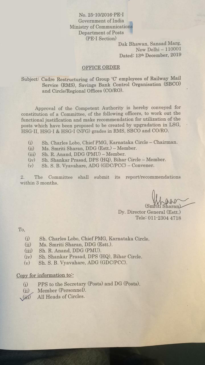 Cadre restructuring of group C Employees of RMS, SBCO, CO and RO