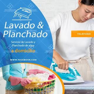plantilla de anuncio para promocionar y buscar trabajo de lavar y planchar a domicilio