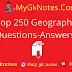 Top 250 Geography Questions Answers PDF in Hindi