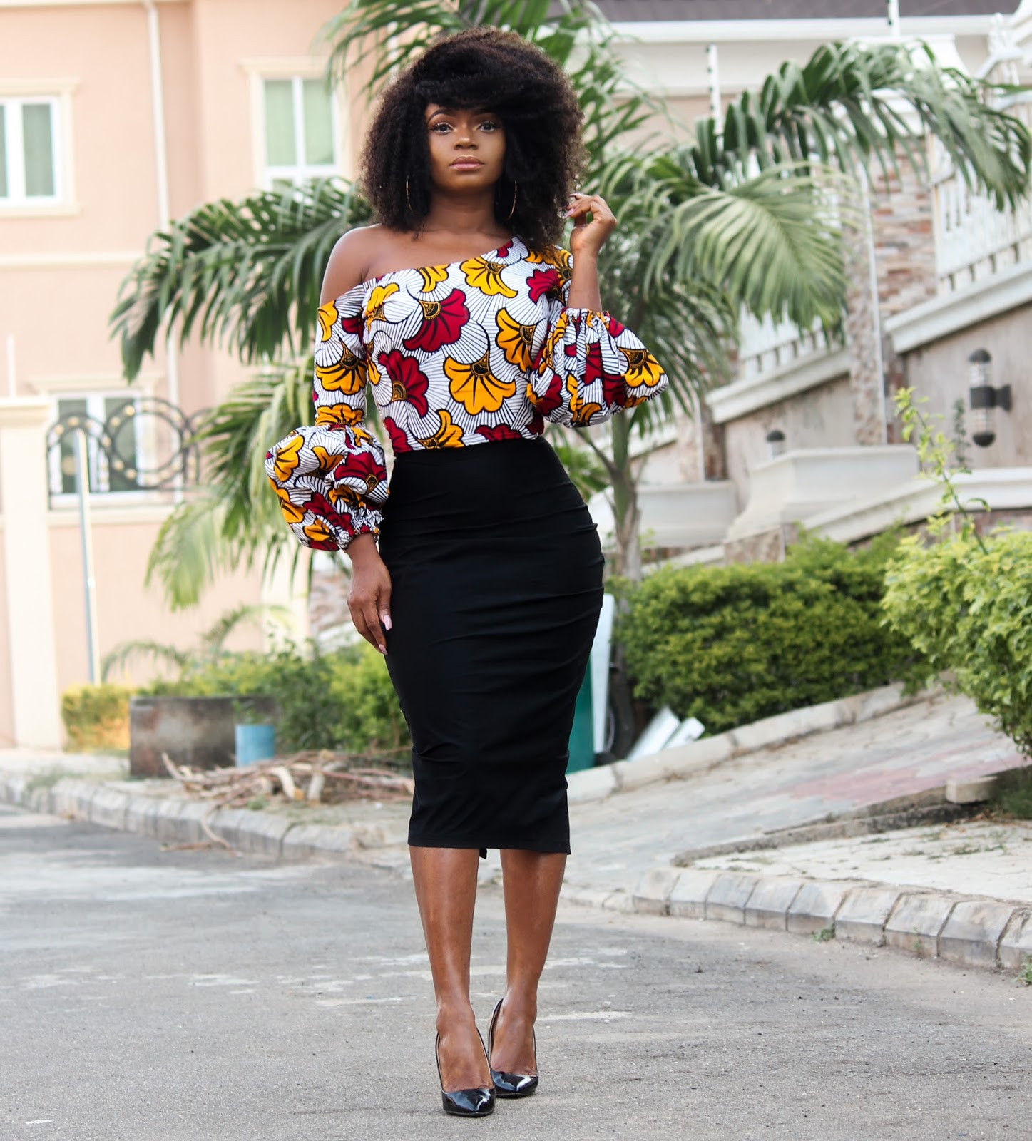 ANKARA TOP + BLACK MIDI SKIRT - African 'Kpotuba' Print Skewed Neckline Top with Black Midi Skirt and Black ZARA Court shoes