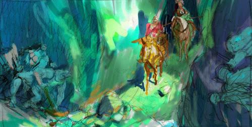 Pintura representando uma emboscada, com homens a cavalo e monstros