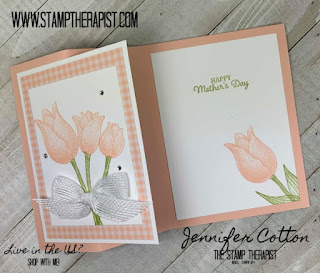 This pink Mother's Day Card uses Stampin' Up!'s Timeless Tulips Bundle (includes the Tulip Builder Punch).  The instructions are on the blog - click the picture to go there!)  #StampTherapist #StampinUp