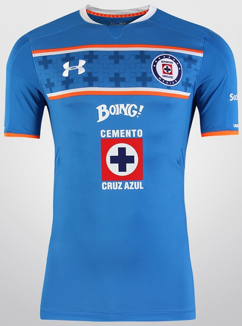 7cb8d660e The Cruz Azul 2015-2016 Away Shirt is white with blue sleeves and a special  blue collar. The sleeve cuffs of the new Under Armour Cruz Azul 15-16 Away  Kit ...
