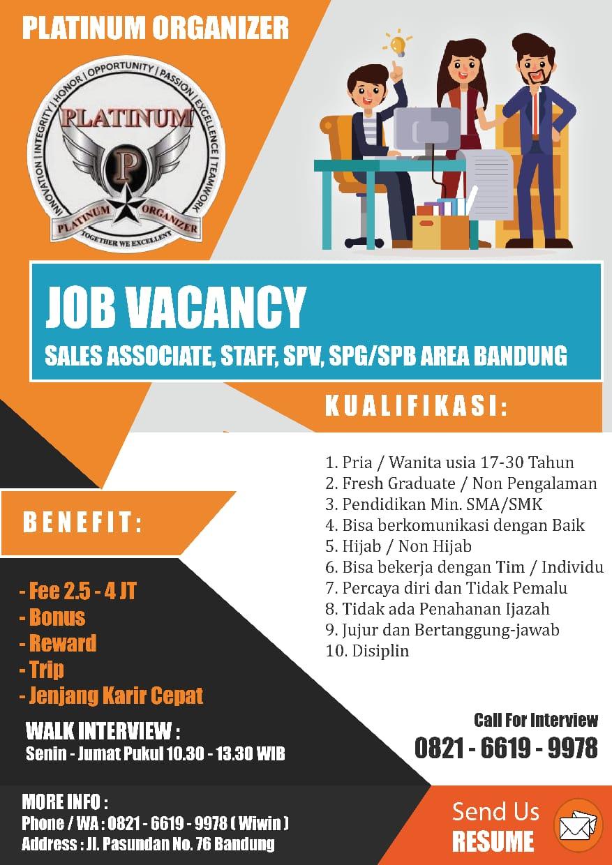Lowongan Kerja Platinum Organizer Bandung Desember 2019