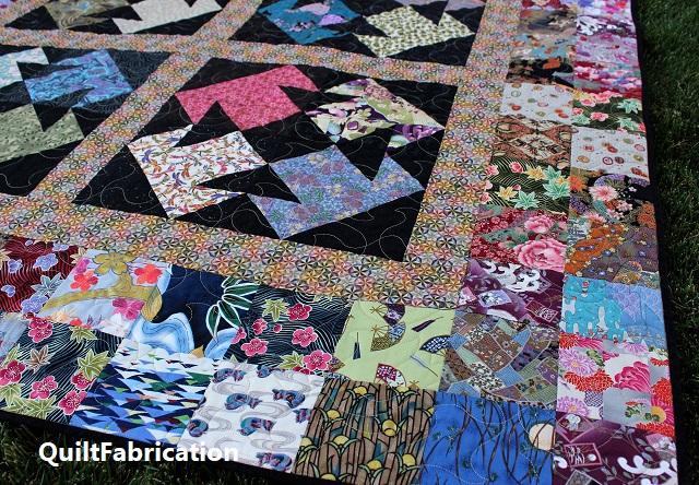 Kimono quilt 5 inch square scrappy border