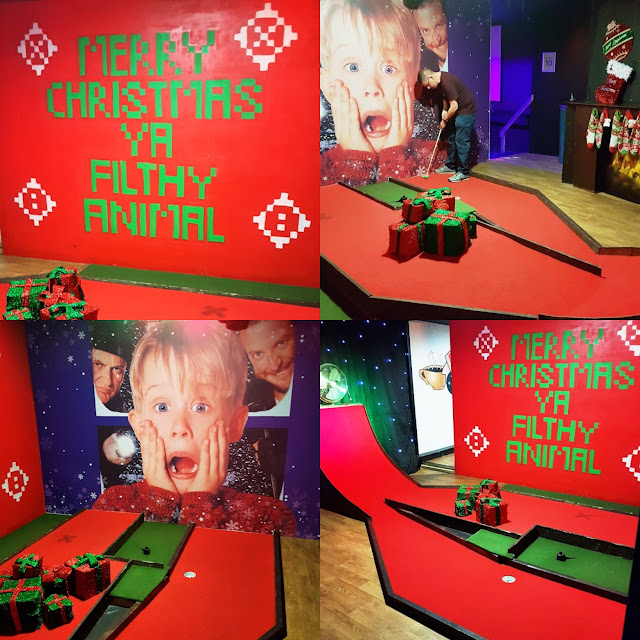 Playing Christmas Crazy Golf at Teezers Retro Golf in Coventry at Easter 2019
