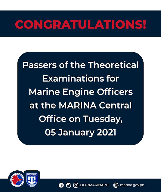 passers of the Theoretical Examinations for Marine Engine Officers conducted at the MARINA