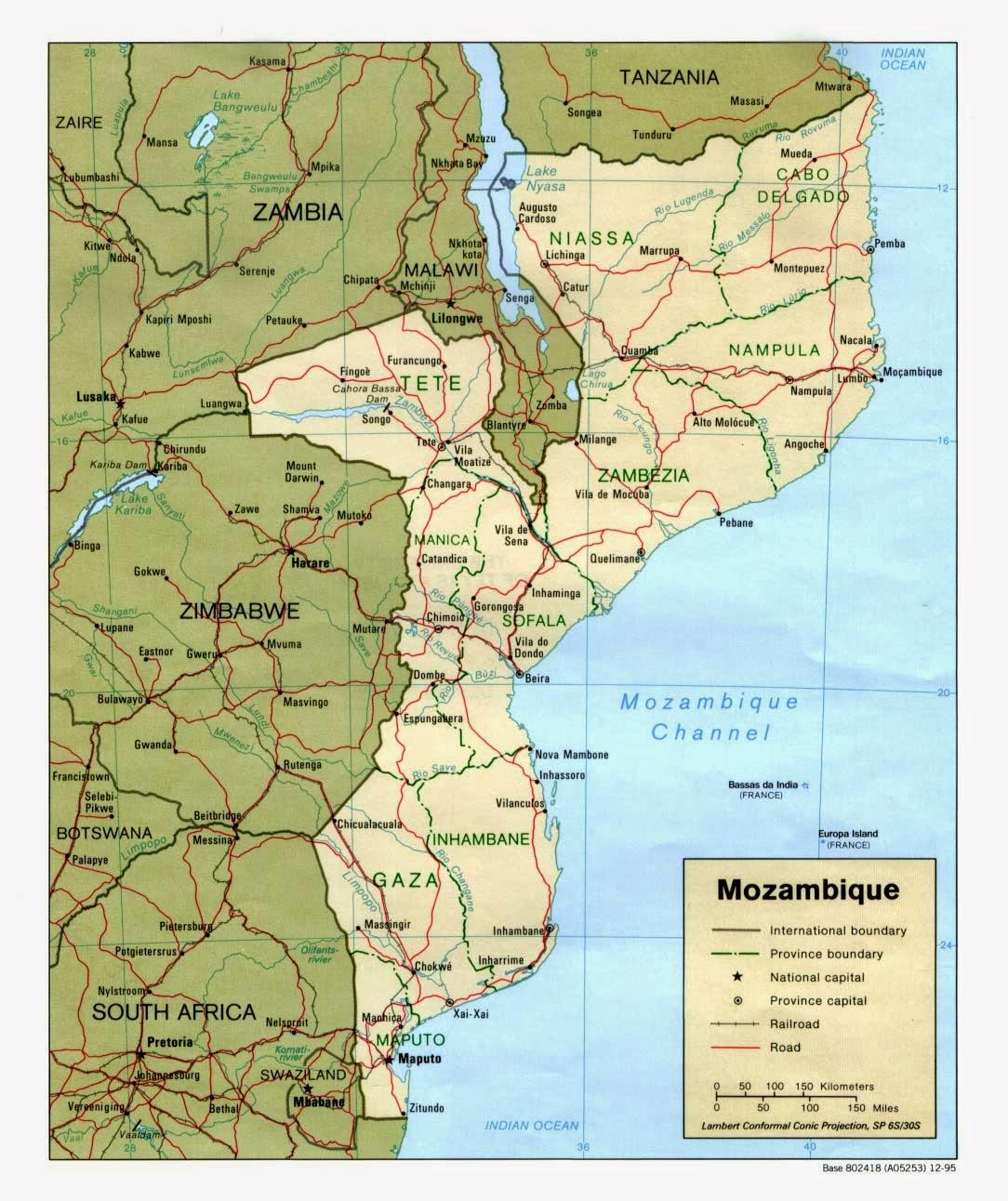 Peta Negara Mozambique