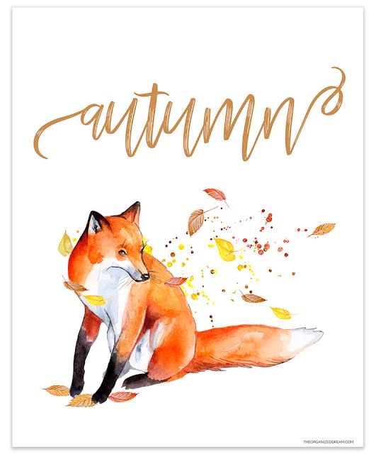 Autumn watercolor fox printable. #printables #autumn #falldecor #homedecor