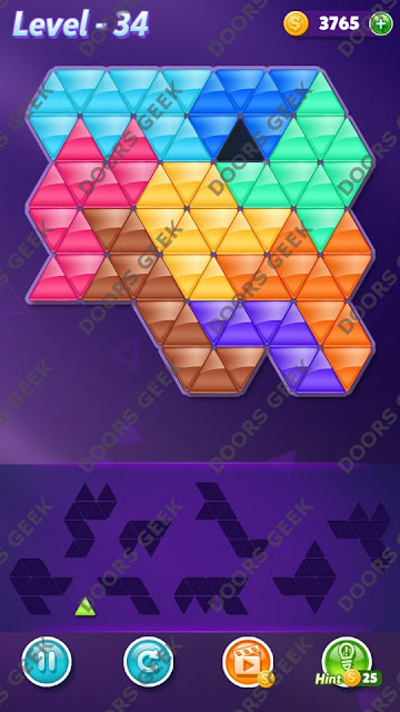 Block! Triangle Puzzle 9 Mania Level 34 Solution, Cheats, Walkthrough for Android, iPhone, iPad and iPod