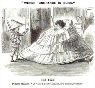 Punch December 12, 1857. Two boys using a covered crinoline as a tent.