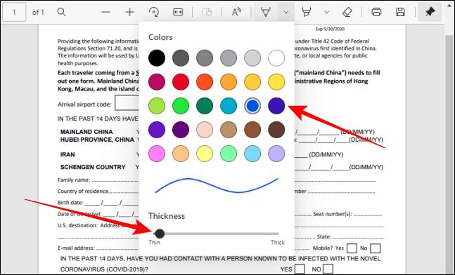 اختر اللون واضبط سمك أداة القلم في شريط أدوات PDF في Edge