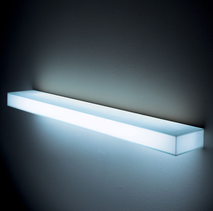 light light modern illuminated wall mounted glass shelf with light wall shelves white by. Black Bedroom Furniture Sets. Home Design Ideas