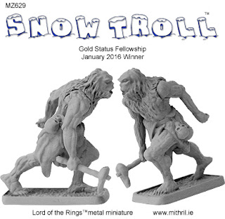 MZ629 Snow Troll metal miniature from Mithril.