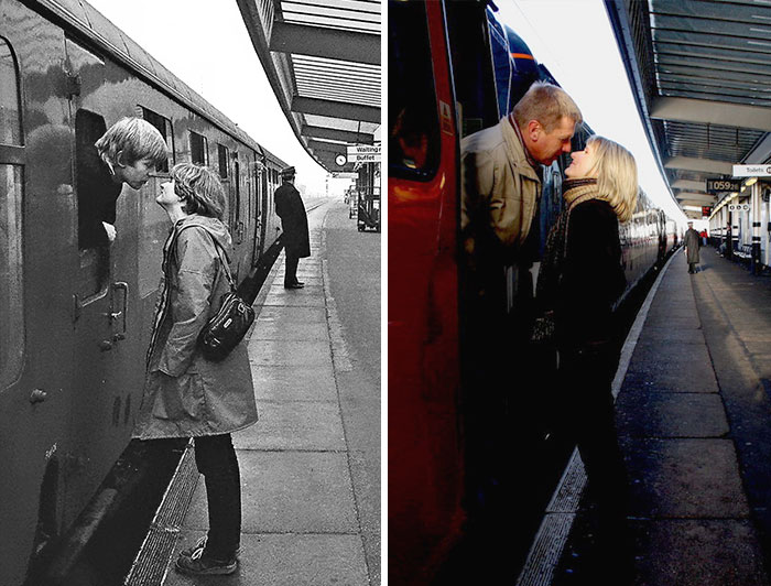 Photographer Recaptures Old Pictures Creating A Beautiful Reunion Of People He Photographed Decades Ago - Railway Kiss (1980 And 2009)