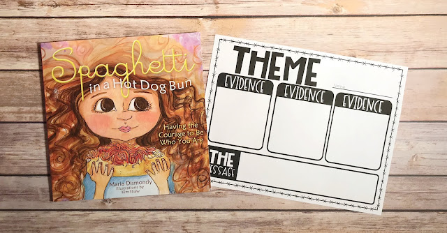"""Mentor Text with text """"Spaghetti in a Hot Dog Bun"""" and Graphic Organizer with text """"Theme"""""""