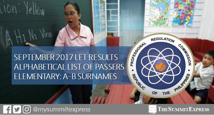 A-B Passers List: LET Results September 2017 Elementary