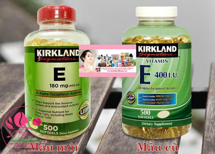 Viên uống Vitamin E Kirland mẫu mới và mẫu cũ