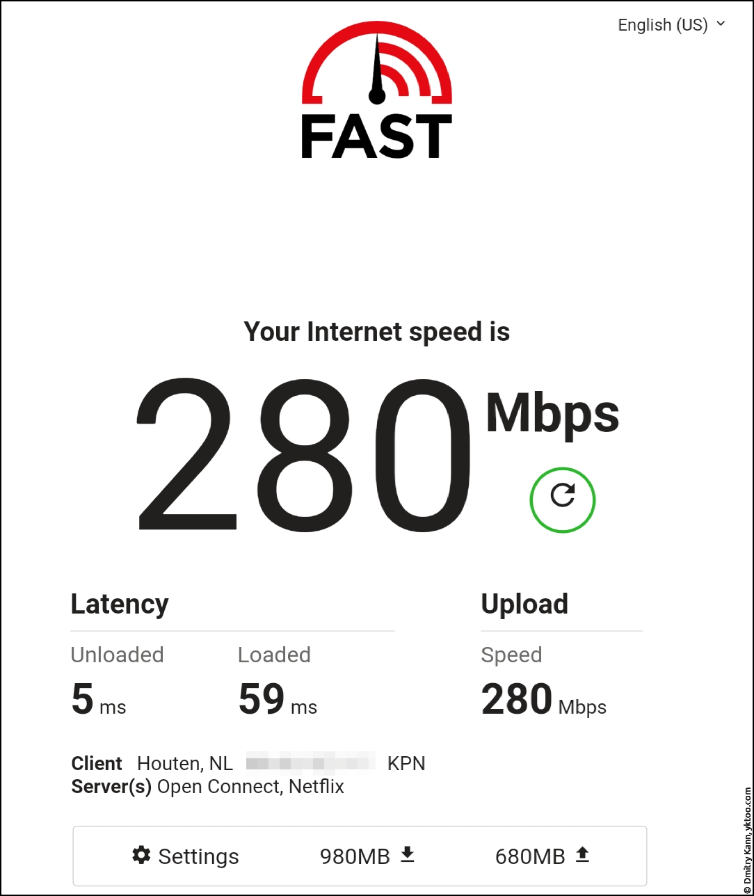 Скорость Wi-Fi вдали от роутера и сателлита — fast.com.
